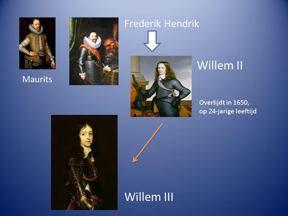 Willem II Willem III Frederik Hendrik Maurits Overlijdt in 1650,