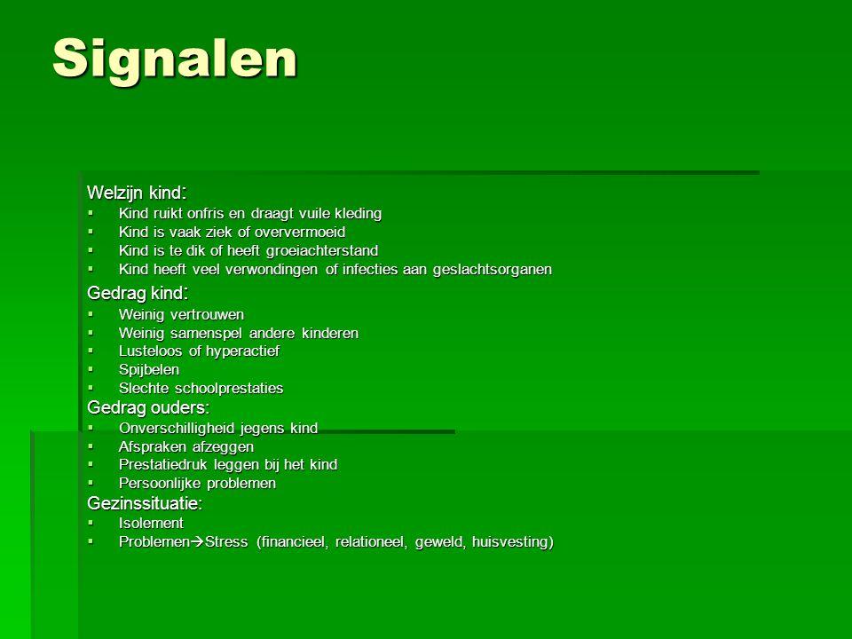 Signalen Welzijn kind: Gedrag kind: Gedrag ouders: Gezinssituatie: