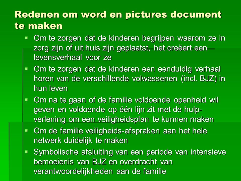 Redenen om word en pictures document te maken