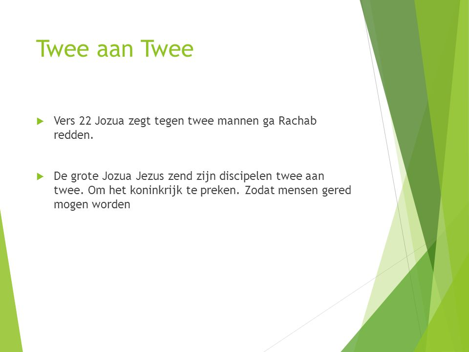 Twee aan Twee Vers 22 Jozua zegt tegen twee mannen ga Rachab redden.