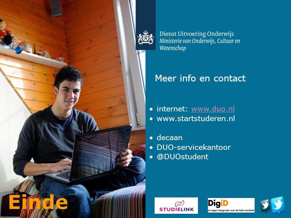 Einde Meer info en contact internet: www.duo.nl www.startstuderen.nl