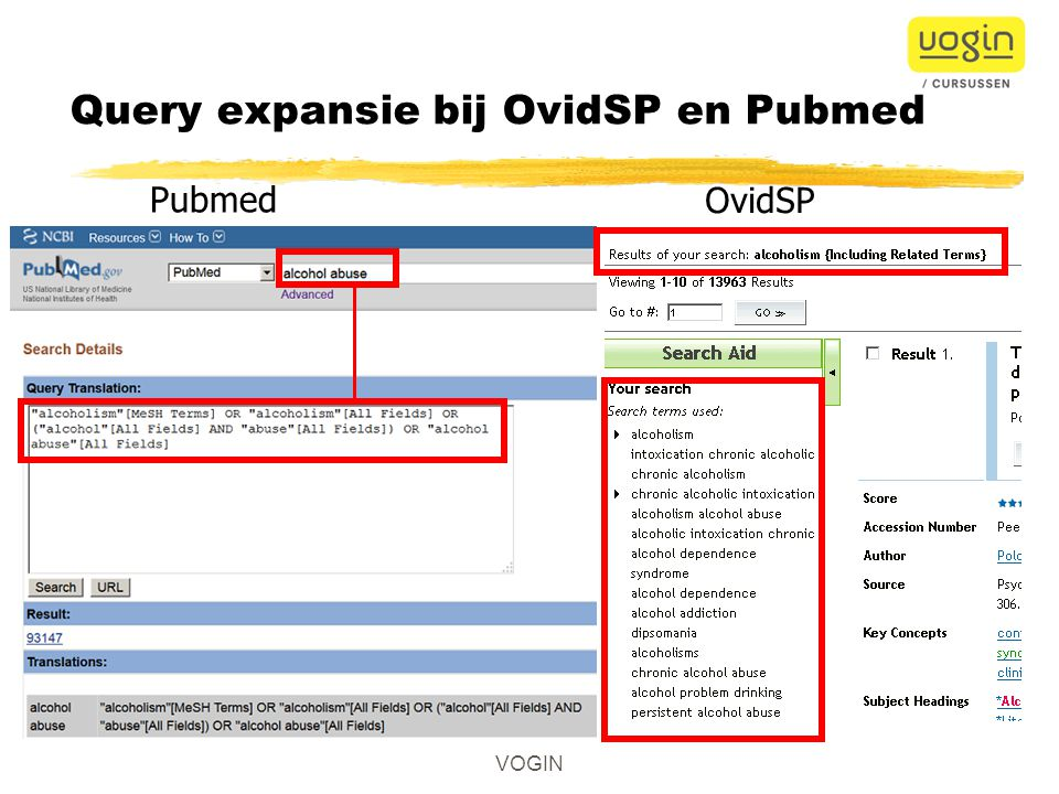 Query expansie bij OvidSP en Pubmed