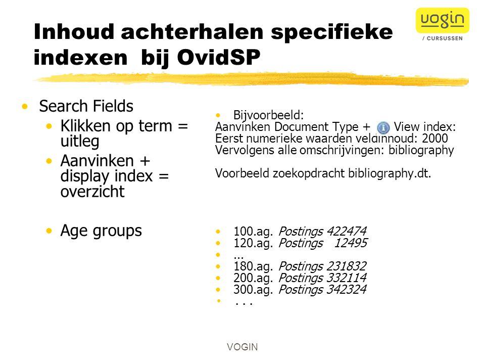 Inhoud achterhalen specifieke indexen bij OvidSP
