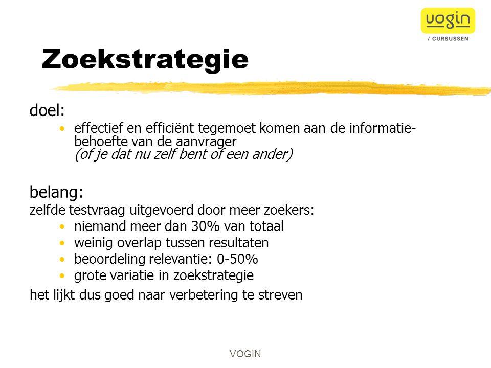Zoekstrategie doel: belang: