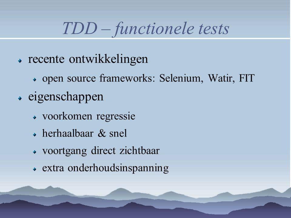 TDD – functionele tests