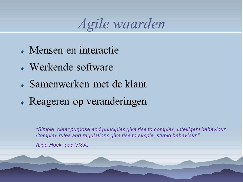 Agile waarden Mensen en interactie Werkende software