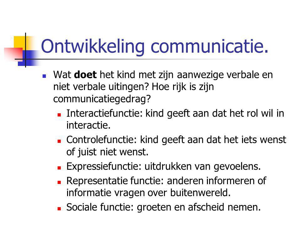Ontwikkeling communicatie.
