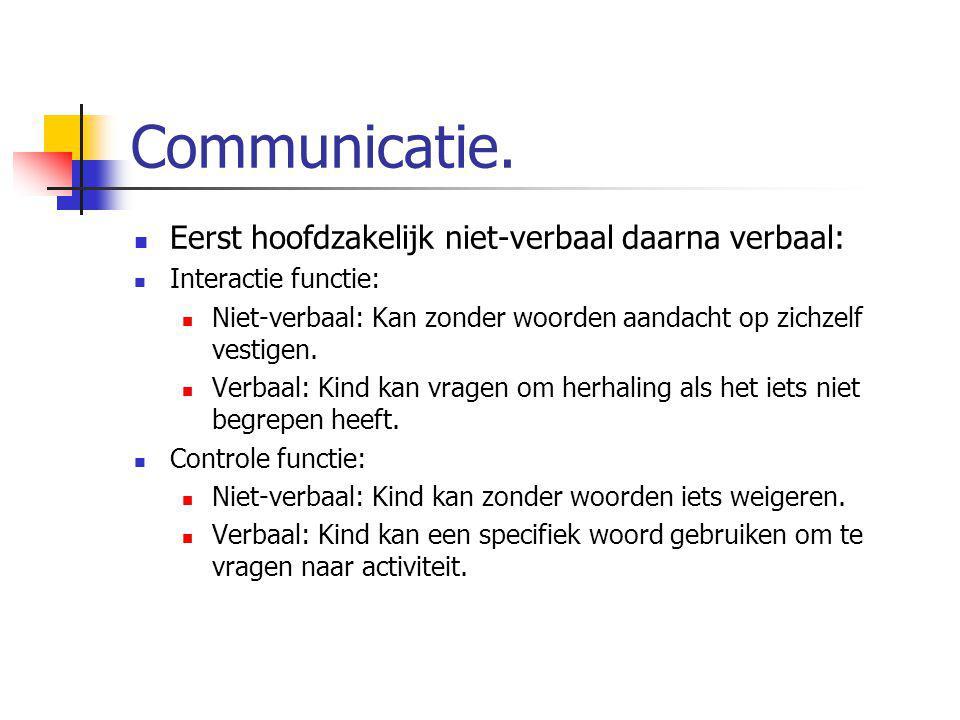 Communicatie. Eerst hoofdzakelijk niet-verbaal daarna verbaal: