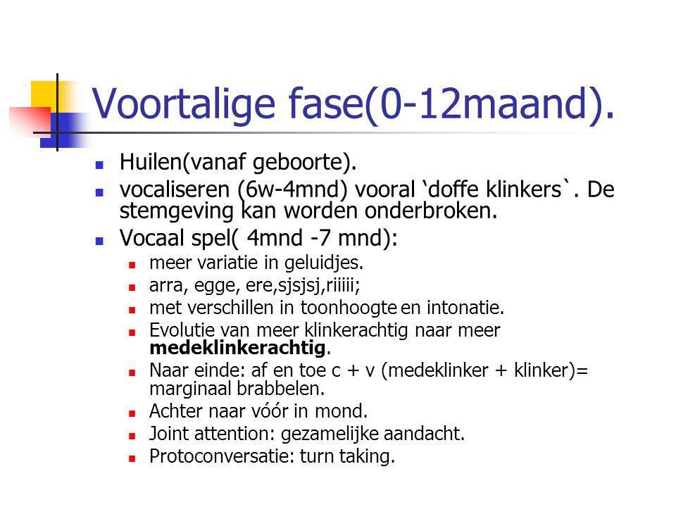 Voortalige fase(0-12maand).
