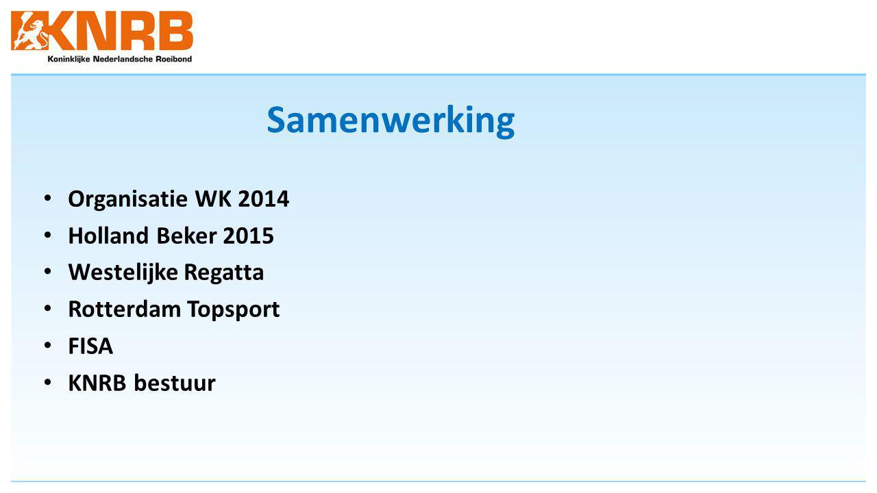 Samenwerking Organisatie WK 2014 Holland Beker 2015 Westelijke Regatta