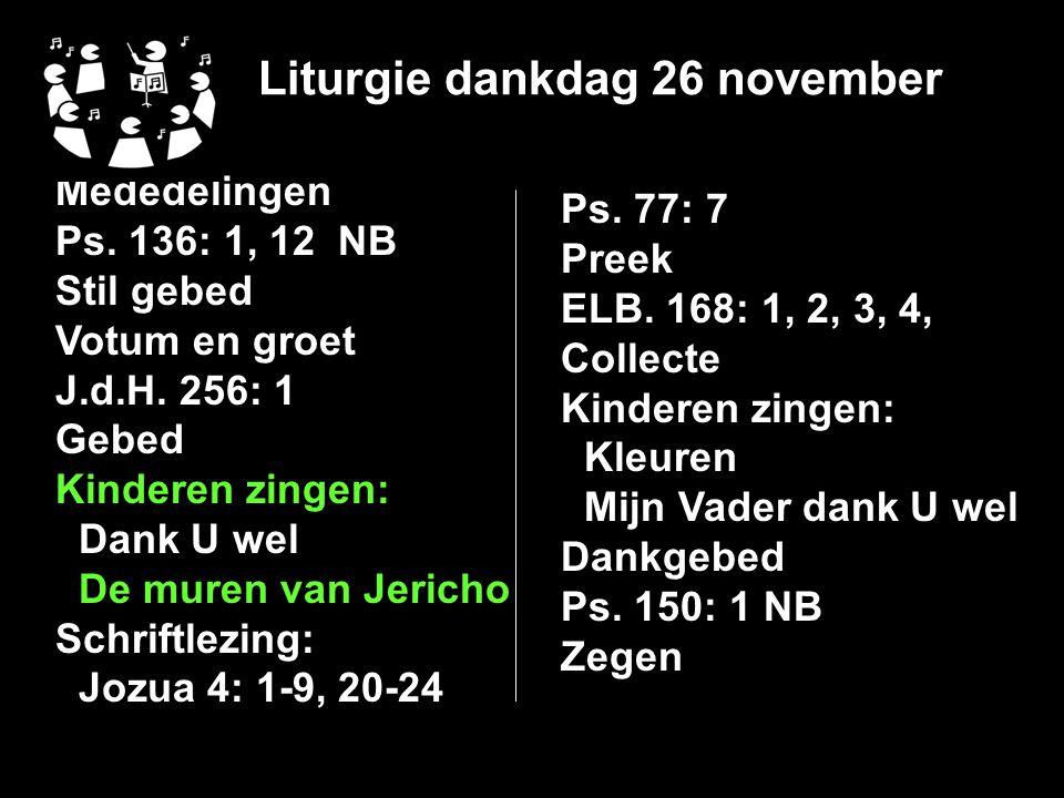 Liturgie dankdag 26 november
