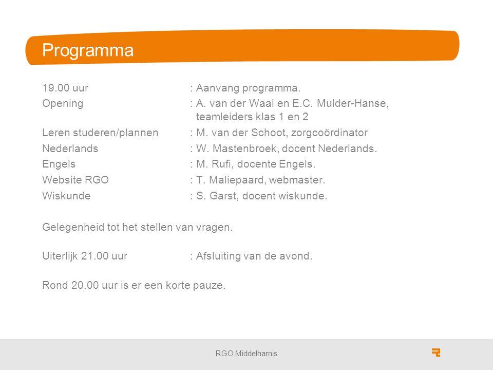 Programma 19.00 uur : Aanvang programma.