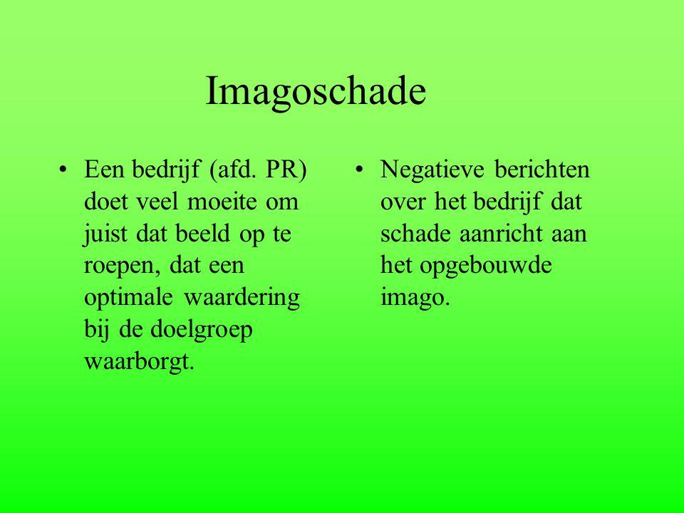 Imagoschade Een bedrijf (afd. PR) doet veel moeite om juist dat beeld op te roepen, dat een optimale waardering bij de doelgroep waarborgt.