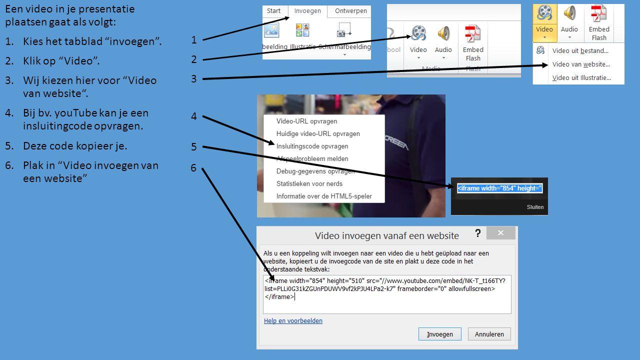 Een video in je presentatie plaatsen gaat als volgt: