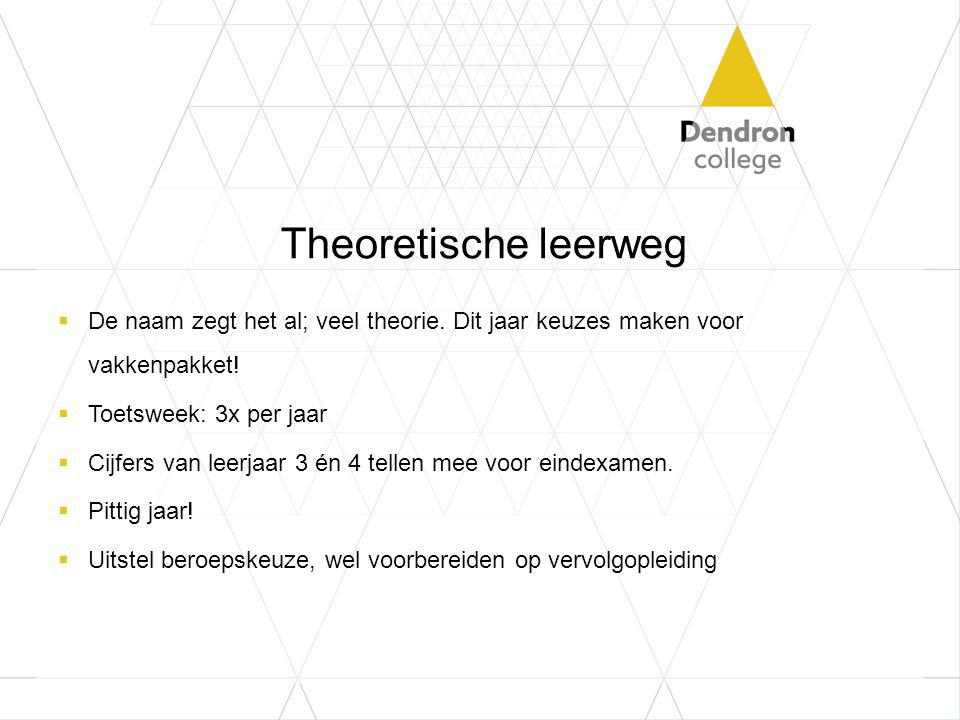 Theoretische leerweg De naam zegt het al; veel theorie. Dit jaar keuzes maken voor vakkenpakket! Toetsweek: 3x per jaar.