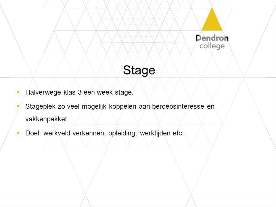 Stage Halverwege klas 3 een week stage.
