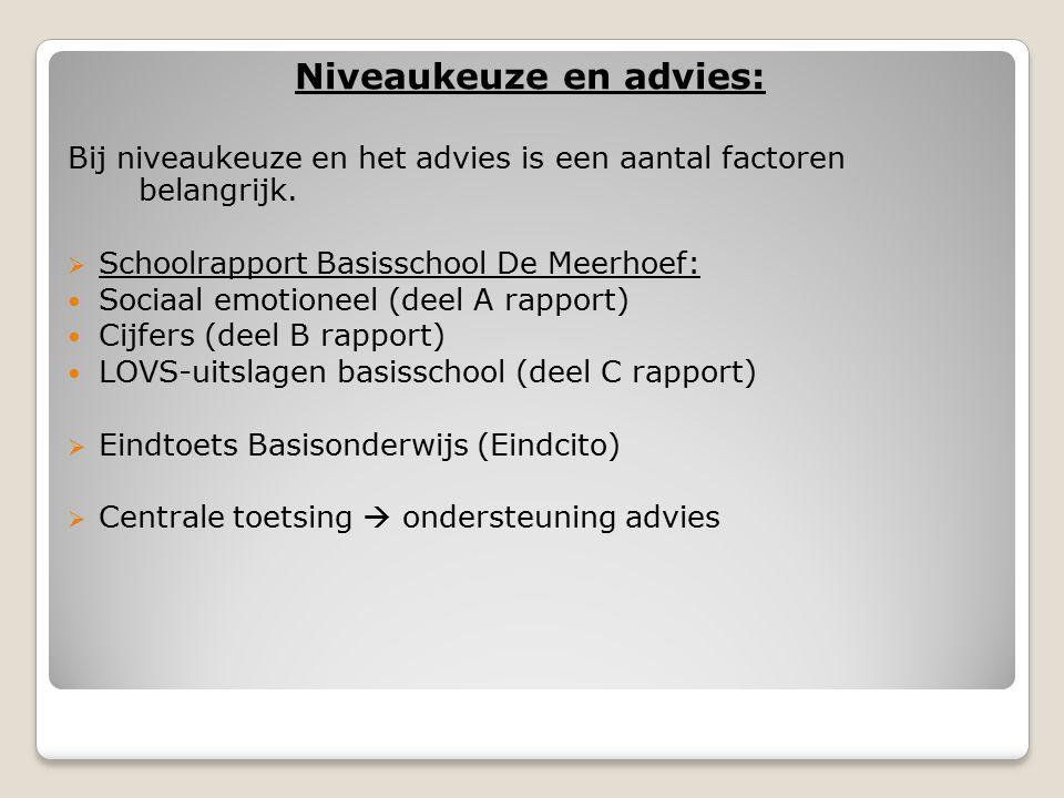 Niveaukeuze en advies: