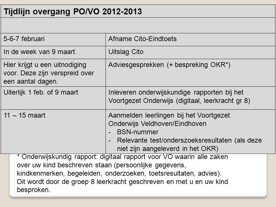 Tijdlijn overgang PO/VO 2012-2013