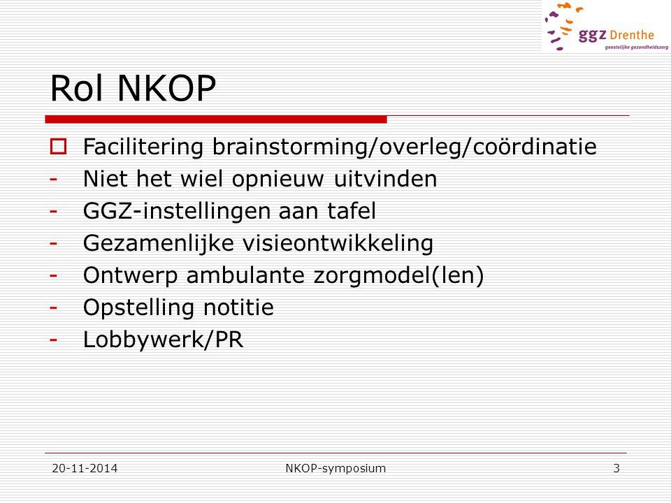 Rol NKOP Facilitering brainstorming/overleg/coördinatie