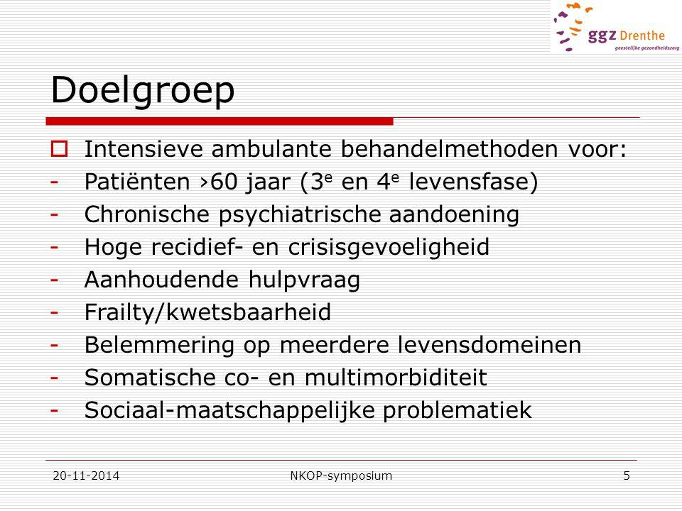 Doelgroep Intensieve ambulante behandelmethoden voor: