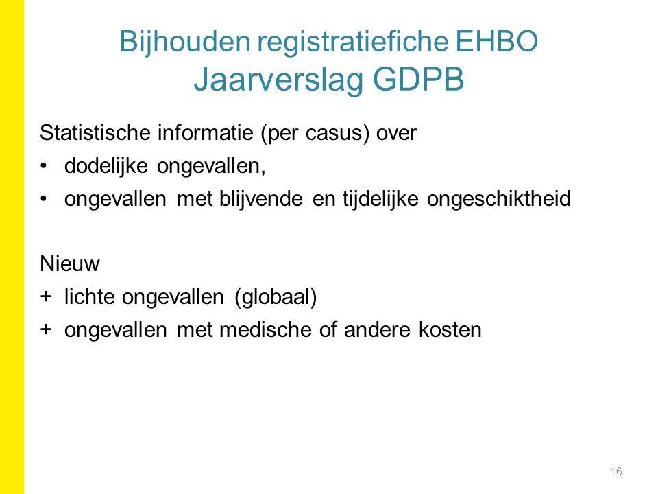 Bijhouden registratiefiche EHBO Jaarverslag GDPB