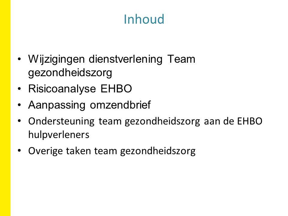 Inhoud Wijzigingen dienstverlening Team gezondheidszorg