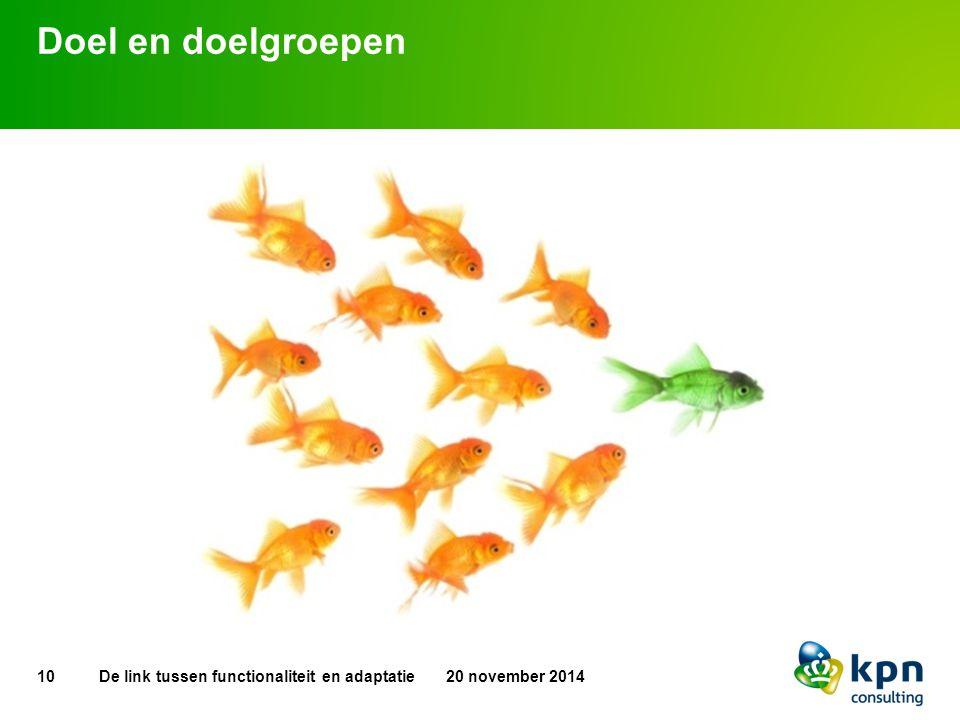 Doel en doelgroepen De link tussen functionaliteit en adaptatie