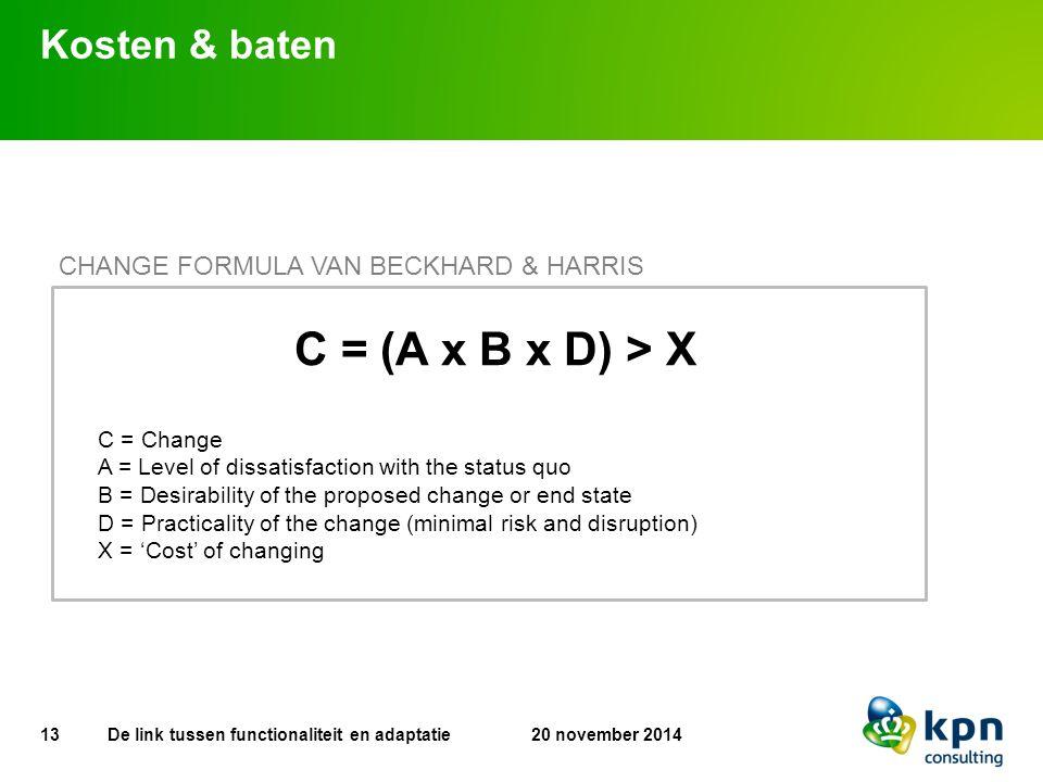 C = (A x B x D) > X Kosten & baten