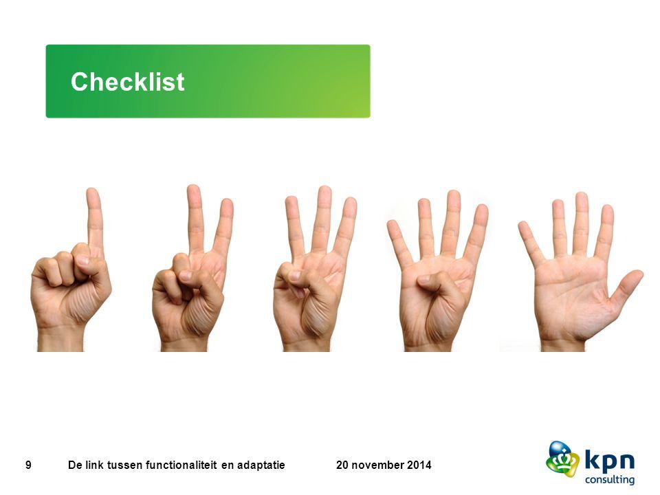Checklist De link tussen functionaliteit en adaptatie 20 november 2014