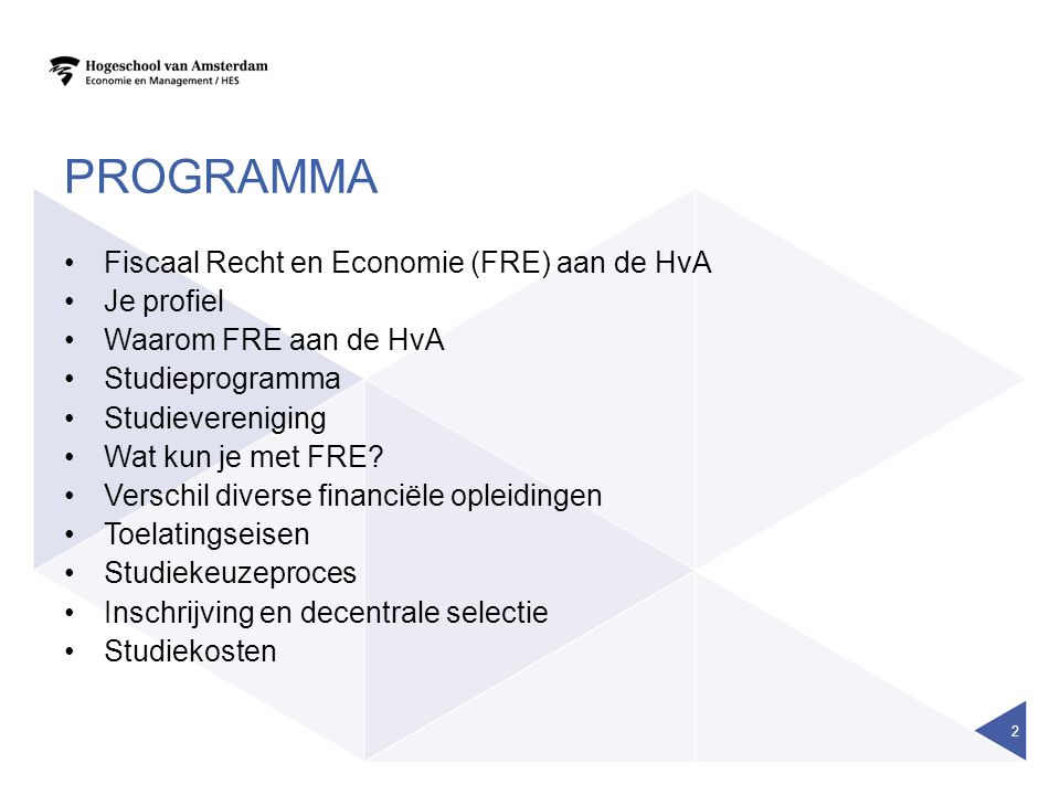 Programma Fiscaal Recht en Economie (FRE) aan de HvA Je profiel