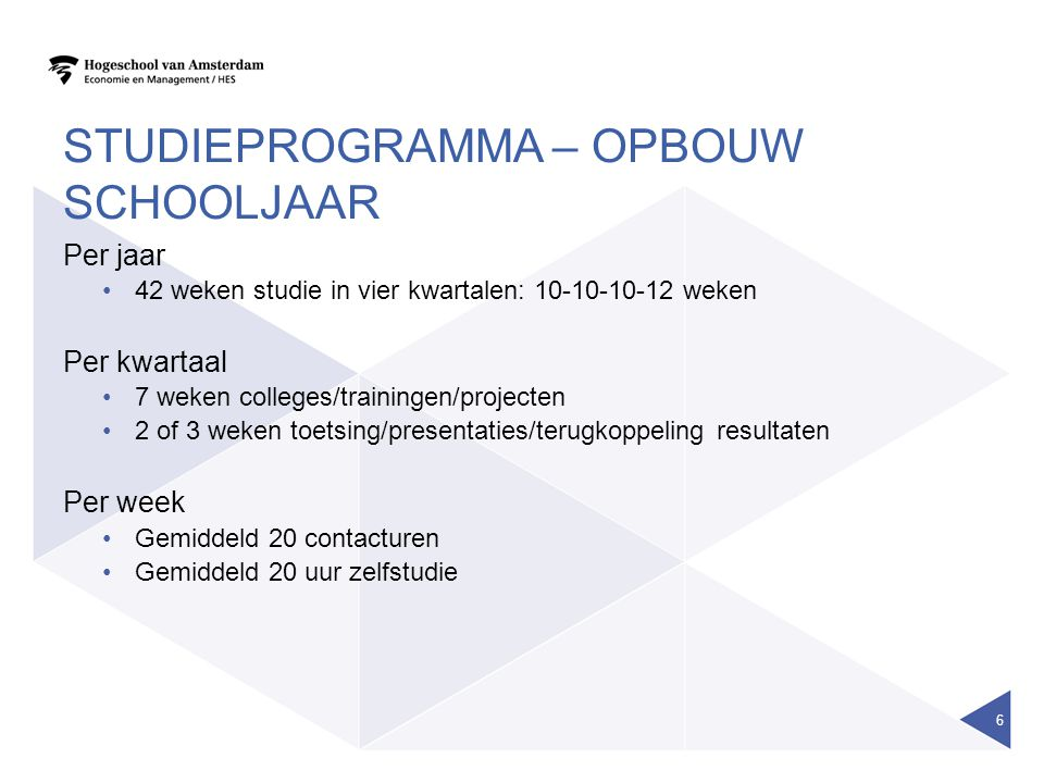 studieprogramma – opbouw schooljaar