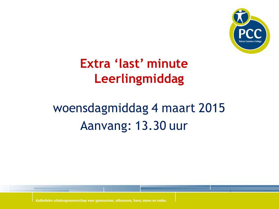 Extra 'last' minute Leerlingmiddag