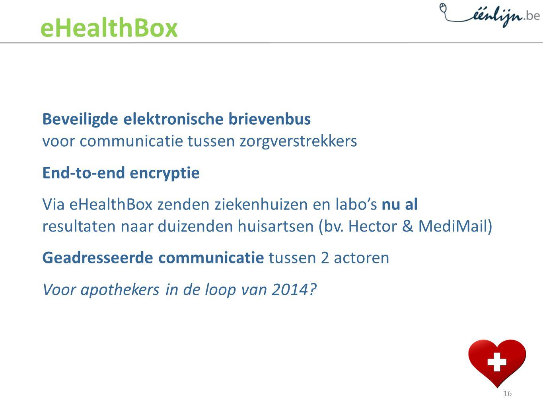 eHealthBox Beveiligde elektronische brievenbus voor communicatie tussen zorgverstrekkers. End-to-end encryptie.