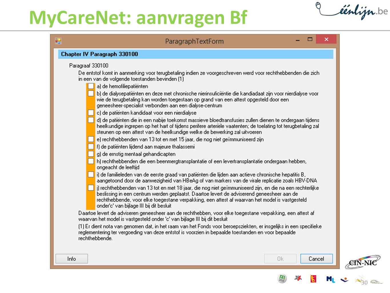 MyCareNet: aanvragen Bf