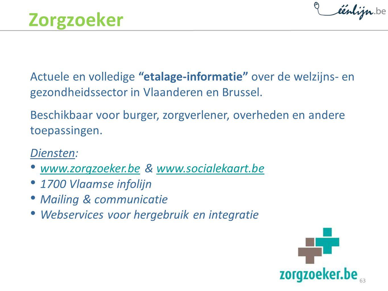 Zorgzoeker Actuele en volledige etalage-informatie over de welzijns- en gezondheidssector in Vlaanderen en Brussel.