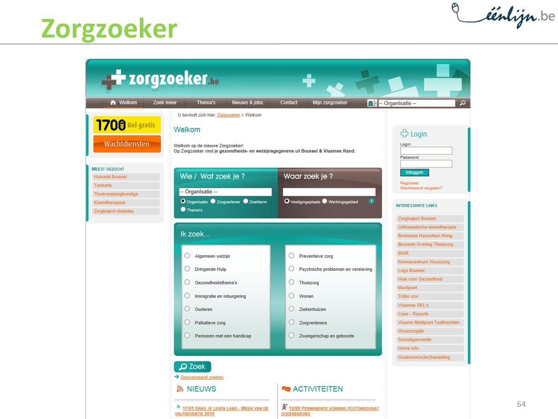 Zorgzoeker Printscreen van de homepage van www.zorgzoeker.be