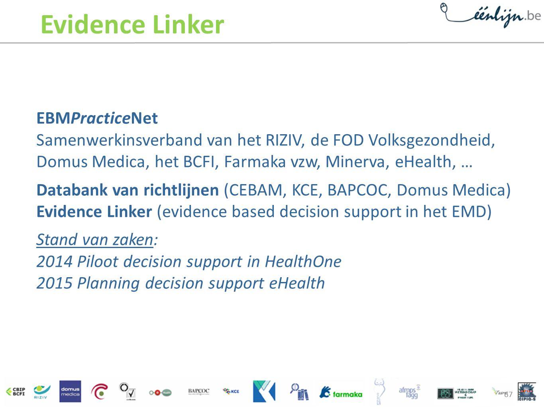Evidence Linker EBMPracticeNet Samenwerkinsverband van het RIZIV, de FOD Volksgezondheid, Domus Medica, het BCFI, Farmaka vzw, Minerva, eHealth, …