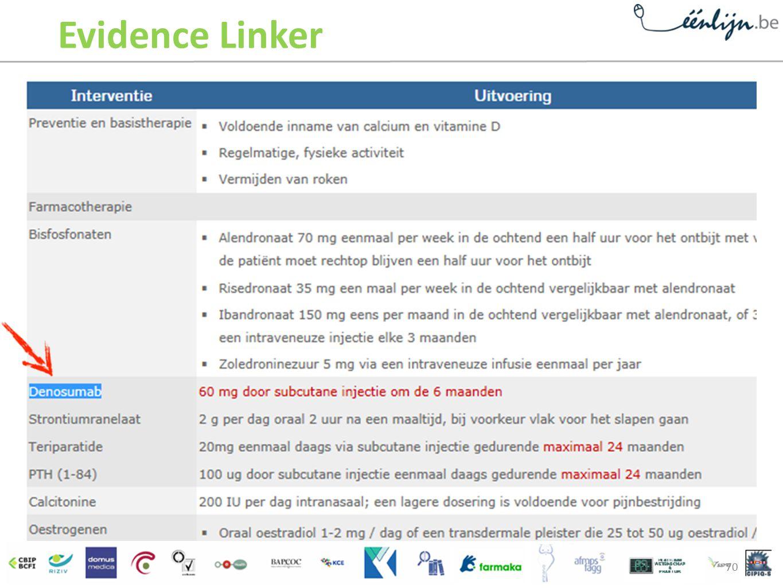 Evidence Linker Evidence Linker geeft de meest wenselijke interventies aan (hier: 2-jaarlijkse injectie met Denosumab ofte Prolia®.