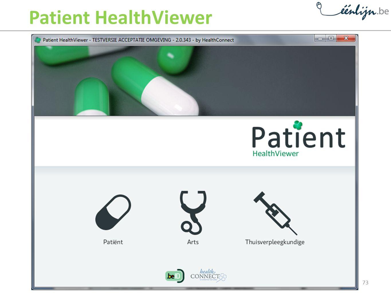Patient HealthViewer Dit is het startscherm van de Patient HealthViewer.