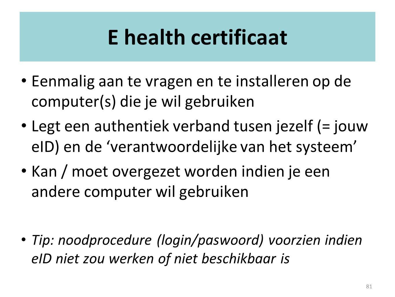 E health certificaat Eenmalig aan te vragen en te installeren op de computer(s) die je wil gebruiken.
