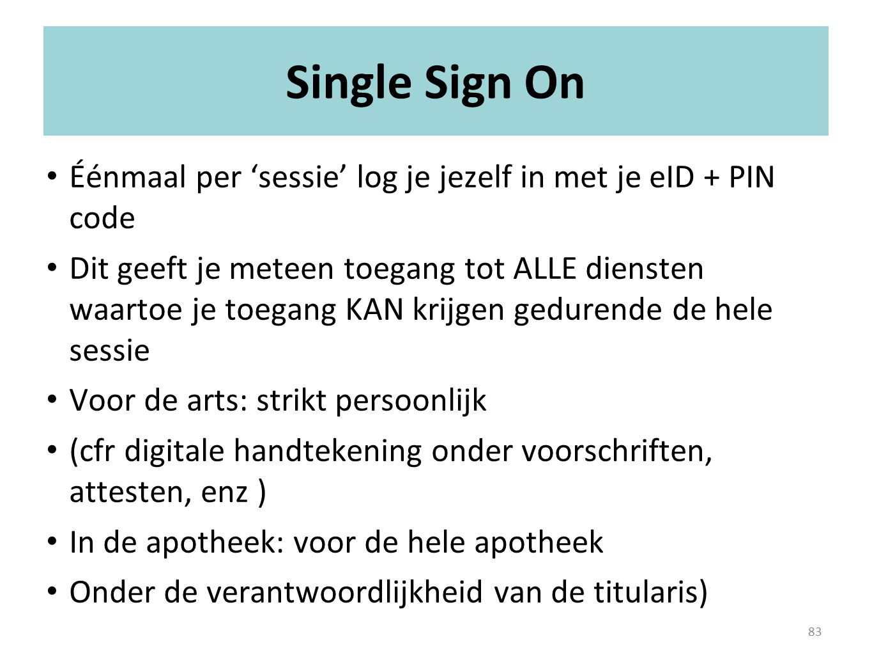 Single Sign On Éénmaal per 'sessie' log je jezelf in met je eID + PIN code.