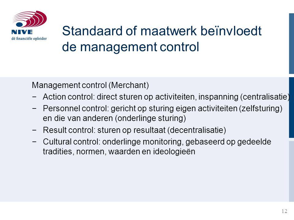 Standaard of maatwerk beïnvloedt de management control