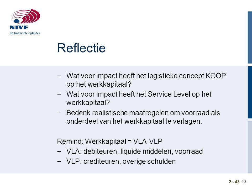 Reflectie Wat voor impact heeft het logistieke concept KOOP op het werkkapitaal Wat voor impact heeft het Service Level op het werkkapitaal
