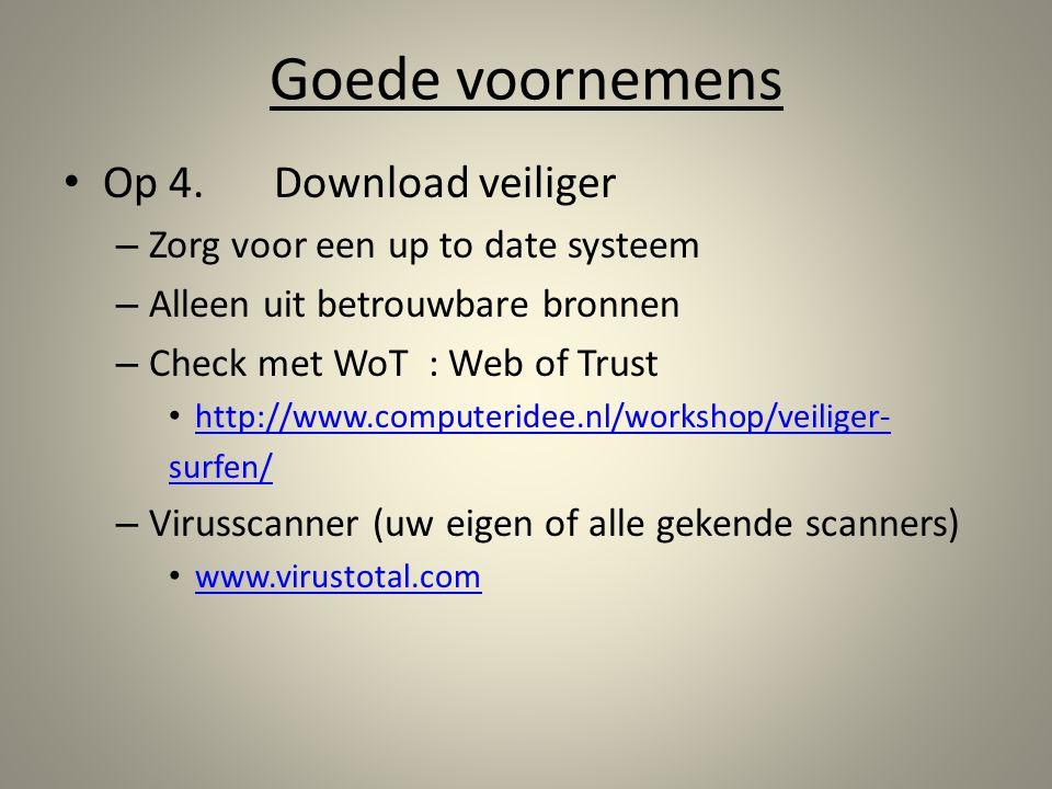 Goede voornemens Op 4. Download veiliger