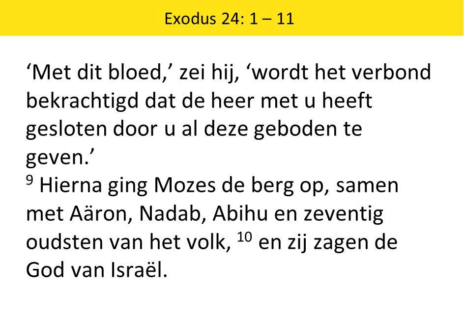 Exodus 24: 1 – 11 'Met dit bloed,' zei hij, 'wordt het verbond bekrachtigd dat de heer met u heeft gesloten door u al deze geboden te geven.'