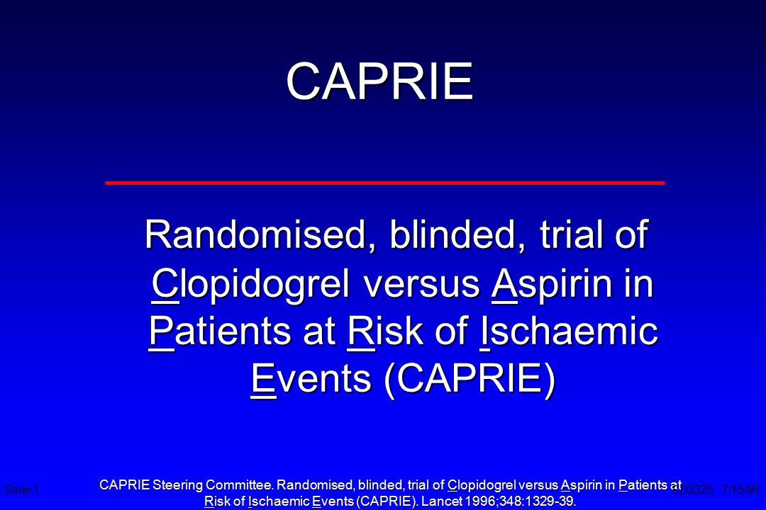 Risk of Ischaemic Events (CAPRIE). Lancet 1996;348:1329-39.