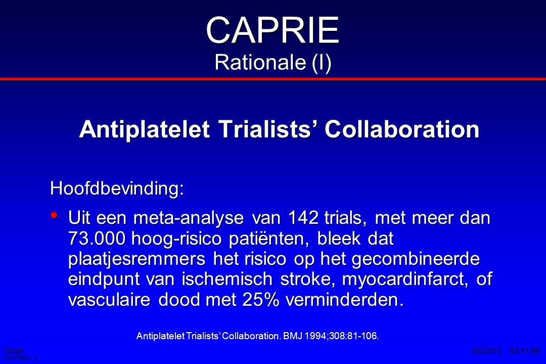 CAPRIE Rationale (I) Antiplatelet Trialists' Collaboration