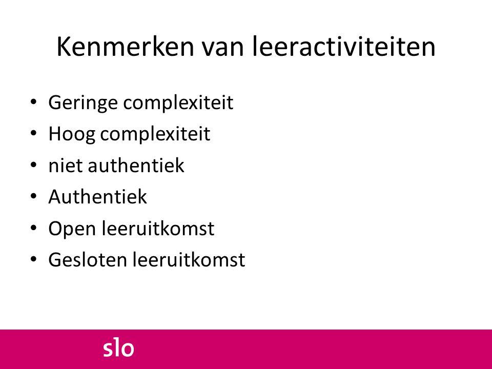 Kenmerken van leeractiviteiten