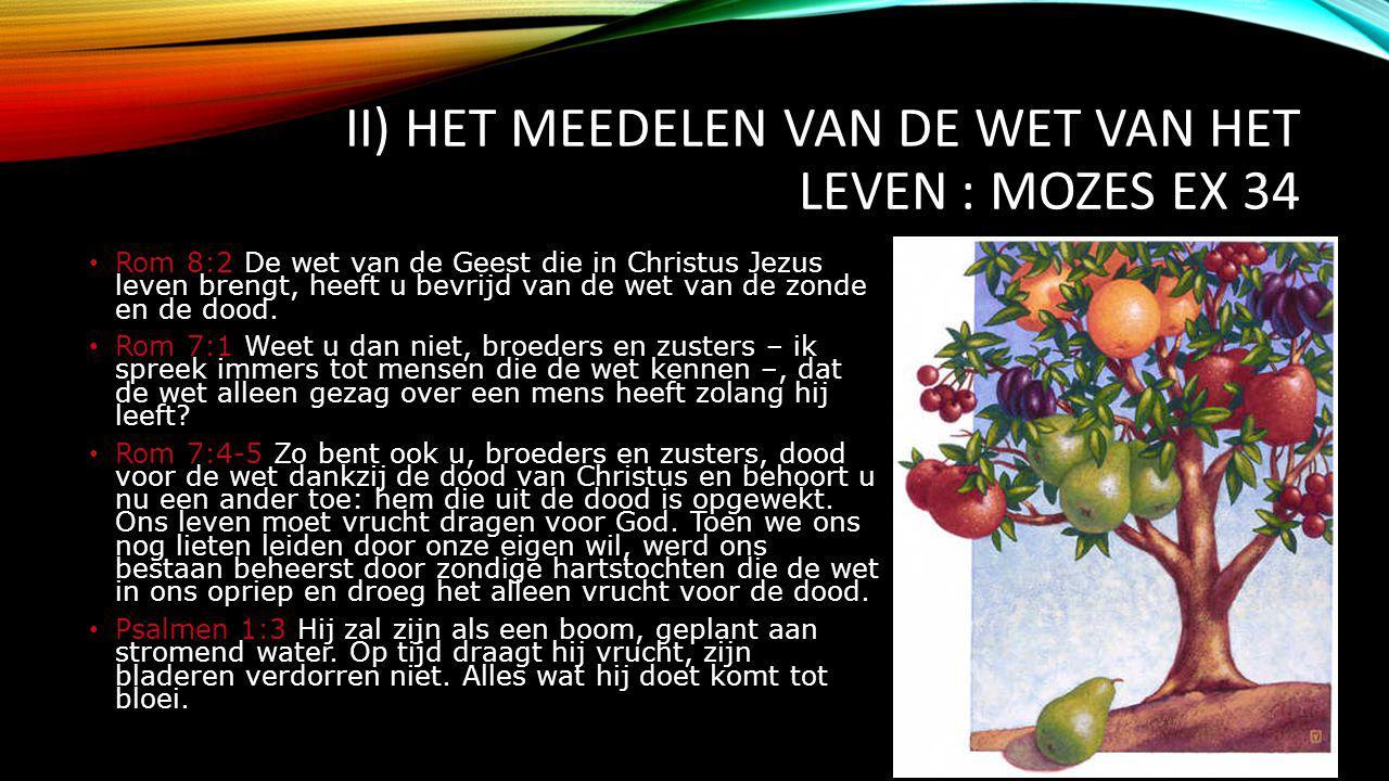 II) Het meedelen van de wet van het leven : Mozes Ex 34