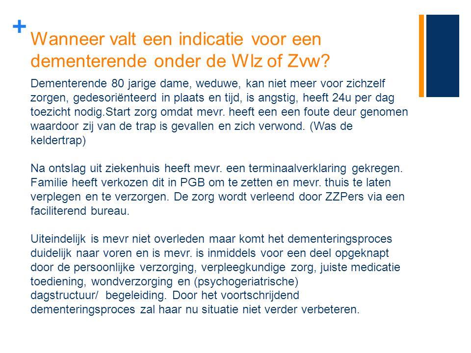 Wanneer valt een indicatie voor een dementerende onder de Wlz of Zvw